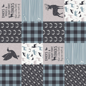 Ducks, Trucks, and Eight Point bucks - patchwork - woodland wholecloth - buffalo check dusty blue duck & buck (90)