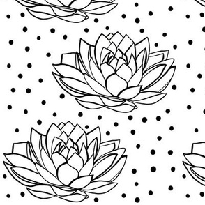 Lotus flower with dots - black and white