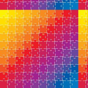 Rainbow Jigsaw Puzzle Pieces