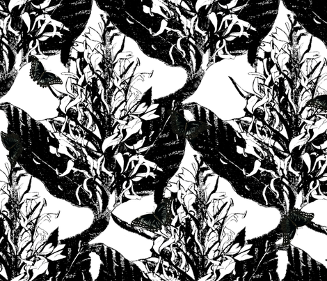 Black Ginger with Butterflies 18in (h) x24in (w) fabric by heritageprintzaotearoa on Spoonflower - custom fabric