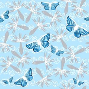 Blue Butterflies Gray Flowers on Blue Swirls