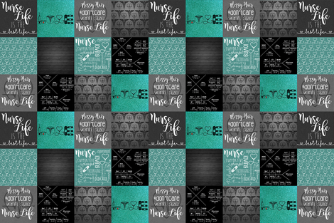 #NurseLife with Teal Glitter fabric by lacklandacres on Spoonflower - custom fabric
