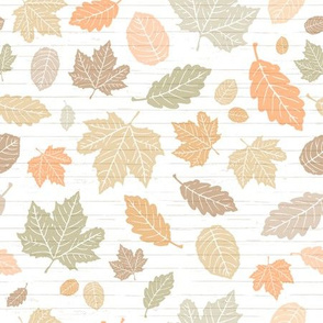 Colorful Pastel Autumn Leaves on White Shiplap Wood Background //  Sing for Your Supper Modern Farmhouse Collection // Autumn Edition
