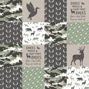 Ducks, Trucks, and Eight Point bucks - patchwork - woodland wholecloth - buck and duck  camo sage