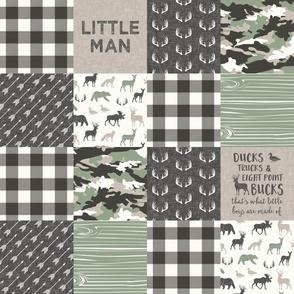 Little Man - Ducks, Trucks, and Eight Point bucks - patchwork - woodland wholecloth - camo sage