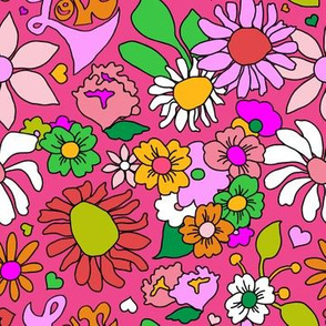 60's Lovers Floral in Lipstick Pink