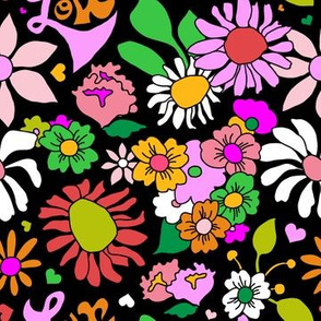 60's Lovers Floral in Black