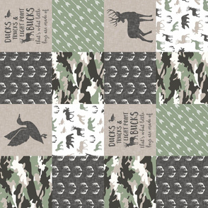 Ducks, Trucks, and Eight Point bucks - patchwork - woodland wholecloth - buck and duck  camo sage (90)