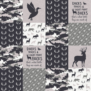 Ducks, Trucks, and Eight Point bucks - patchwork - woodland wholecloth - camo grey on grey duck & buck