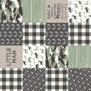 Little Man - Ducks, Trucks, and Eight Point bucks - patchwork - woodland wholecloth - camo sage  (90)