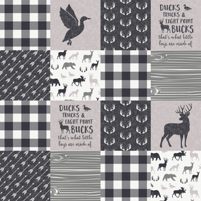 Ducks, Trucks, and Eight Point bucks - patchwork - woodland wholecloth - plaid grey on grey duck & buck