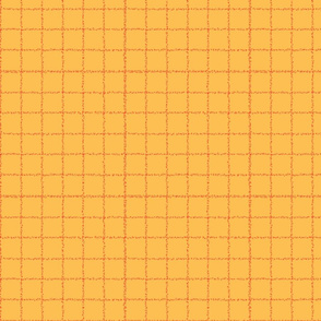 Dotted Windowpane Checks-Red on Golden Yellow