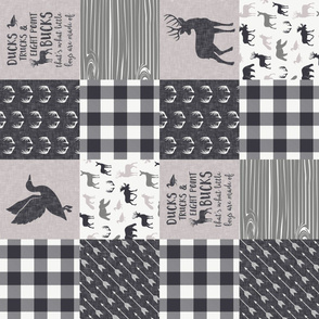 Ducks, Trucks, and Eight Point bucks - patchwork - woodland wholecloth - plaid grey on grey duck & buck (90)