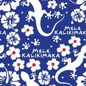 Hawaiian Christmas with Geckos and Flowers in Blue and White