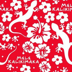 """6"""" Hawaiian Christmas with Geckos and Flowers in Red and White"""