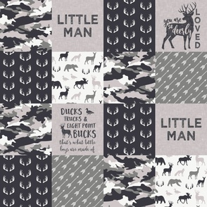 Little Man - Ducks, Trucks, and Eight Point bucks - patchwork - woodland wholecloth - camo grey on grey duck & buck