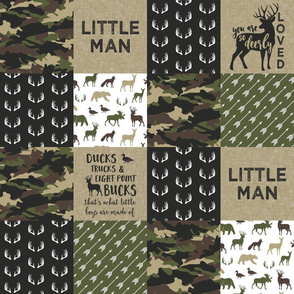 Little Man - So deerly loved -Ducks, Trucks, and Eight Point bucks - patchwork - woodland wholecloth - camo C2 duck & buck