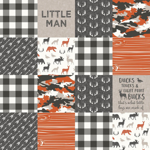 Little Man - So deerly loved -Ducks, Trucks, and Eight Point bucks - patchwork - woodland wholecloth - camo & plaid orange duck & buck