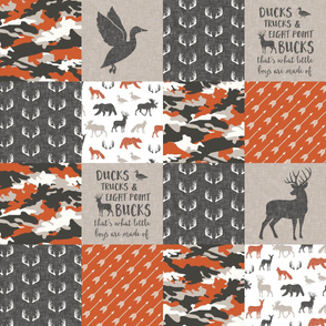 Ducks, Trucks, and Eight Point bucks - patchwork - woodland wholecloth - camo orange  duck & buck