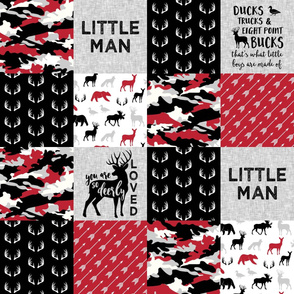 Little Man - So deerly loved -Ducks, Trucks, and Eight Point bucks - patchwork - woodland wholecloth - camo red and black duck & buck
