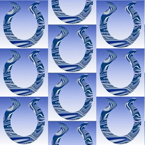 Horseshoes in Blue White and Gray
