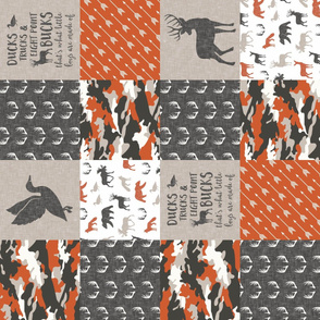 Ducks, Trucks, and Eight Point bucks - patchwork - woodland wholecloth - camo orange  duck & buck (90)