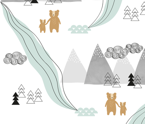 MountainBear fabric by designbyliin on Spoonflower - custom fabric
