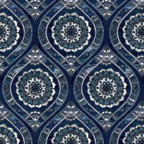 Just Before Dawn - Boho Mandala Ogee Doodle Pattern on Navy Blue small print