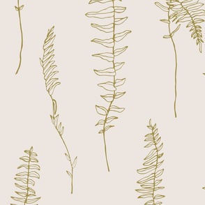 Gold fern on warm eggshell