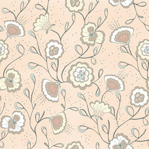 Chinoiserie floral coral chintz