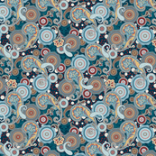 Paisley Mandala teal turquoise aqua navy red  S