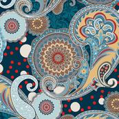 Paisley Mandala teal turquoise aqua navy red L