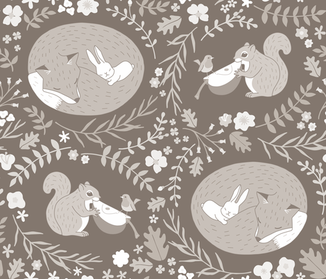 Friendship in the wildlife_Warm Gray fabric by mia_valdez on Spoonflower - custom fabric