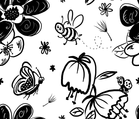 Flowers and bugs fabric by edrouga on Spoonflower - custom fabric