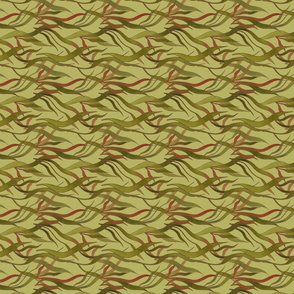 Underwater Wonder in olive (vertical repeat)