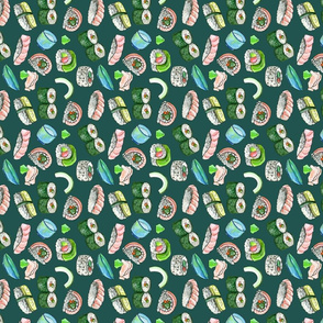 Dancing Sushi green - vertical repeat
