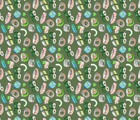 Dancing Sushi olive (vertical) fabric by washburnart on Spoonflower - custom fabric