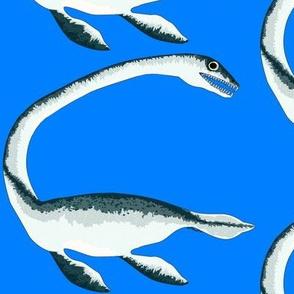 Elasmosaurus on sea blue