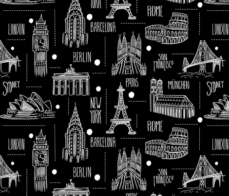 Globetrotter - Travel Map Black & White fabric by heatherdutton on Spoonflower - custom fabric