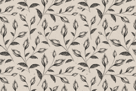 Floral Pencil Drawing on Neutral Background fabric by afrancinedesign on Spoonflower - custom fabric