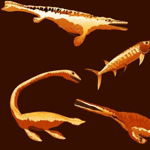 Four extinct sea monsters in gold and browns