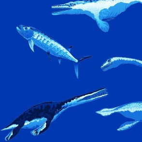 Four extinct sea monsters battle in quad blue