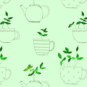 tea plants in tea cups on green || hand drawn pattern for kitchen