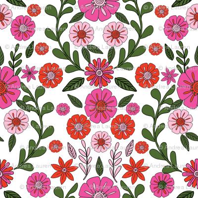 folk floral fabric // folk fabric, folk floral fabric, floral fabric, fabric by the yard, floral fabric by the yard, girls fabric by the yard, andrea lauren fabric, andrea lauren - pink