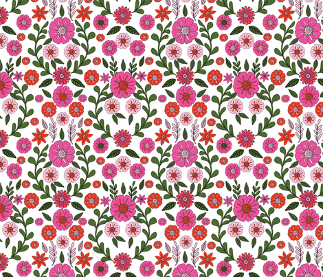 folk floral fabric // folk fabric, folk floral fabric, floral fabric, fabric by the yard, floral fabric by the yard, girls fabric by the yard, andrea lauren fabric, andrea lauren - pink fabric by andrea_lauren on Spoonflower - custom fabric