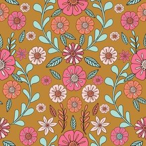folk floral fabric // folk fabric, folk floral fabric, floral fabric, fabric by the yard, floral fabric by the yard, girls fabric by the yard, andrea lauren fabric, andrea lauren - mustard