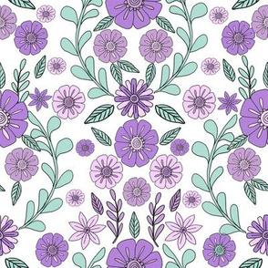 folk floral fabric // folk fabric, folk floral fabric, floral fabric, fabric by the yard, floral fabric by the yard, girls fabric by the yard, andrea lauren fabric, andrea lauren - lavender