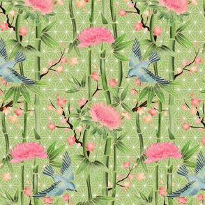 Bamboo, Birds and Blossoms on light green - extra small