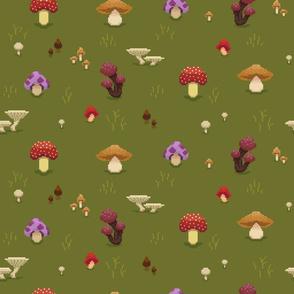 Pixel Mushrooms Green
