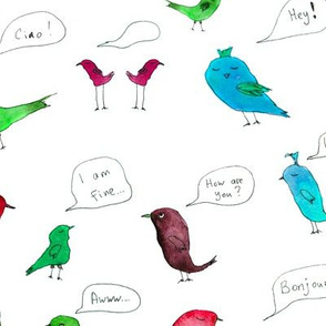birds talk watercolor pattern